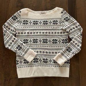 Loft boatneck snowflake sweater
